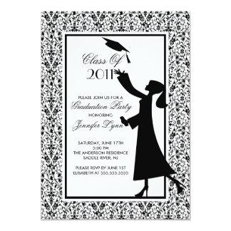 Graduado negro de la silueta de la invitación de