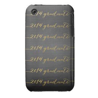 Graduado negro del oro 2014 de la pizarra iPhone 3 carcasas