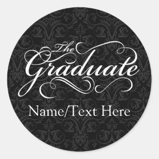 Graduado personalizado, graduación negra elegante pegatina redonda