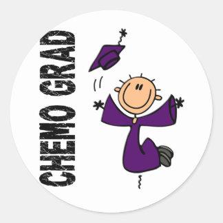 GRADUADO púrpura 1 (cáncer pancreático) de CHEMO Pegatina Redonda