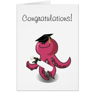 Graduado púrpura del pulpo tarjeta de felicitación