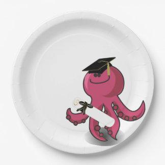 Graduado púrpura feliz del pulpo plato de papel de 9 pulgadas
