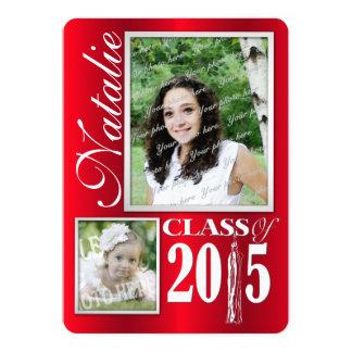 """Graduado rojo de la foto 2015 de la borla invitación 5"""" x 7"""""""