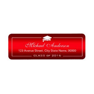 Graduado rojo llano elegante del casquillo de la etiqueta de remite