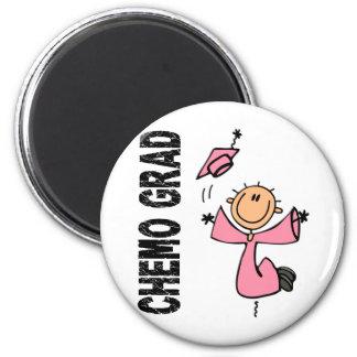 GRADUADO rosado 1 (cáncer de CHEMO de pecho) Imán Redondo 5 Cm