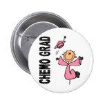 GRADUADO rosado 1 (cáncer de CHEMO de pecho) Pin Redondo 5 Cm