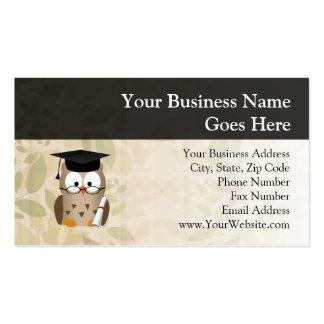 Graduado sabio lindo del búho tarjetas de visita