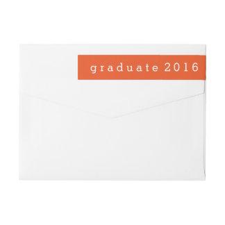Graduado simple 2016 del naranja etiquetas postales