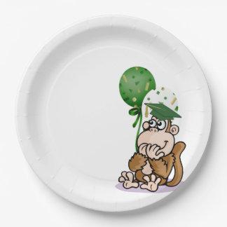 Graduado tonto feliz del mono plato de papel de 9 pulgadas