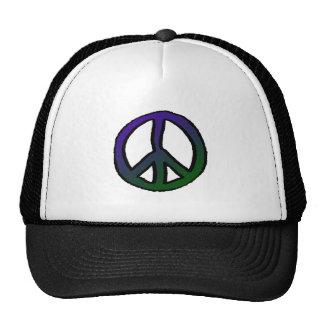 Graduado verde púrpura del signo de la paz gorro de camionero