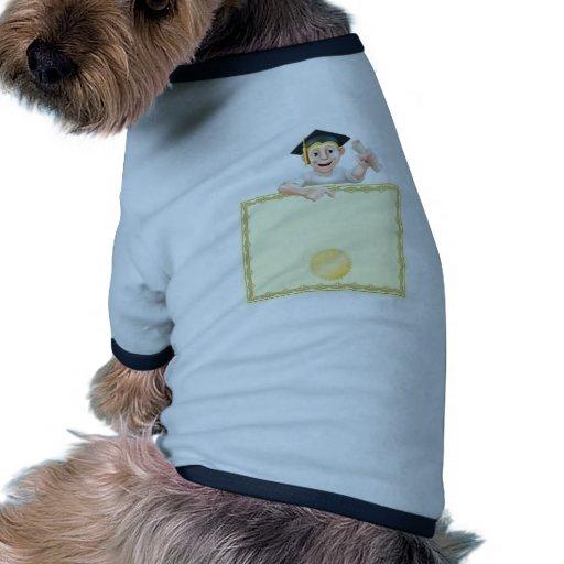 Graduado y diploma camiseta con mangas para perro