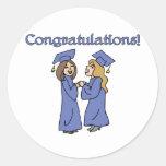 ¡Graduados de la enhorabuena! Etiquetas Redondas