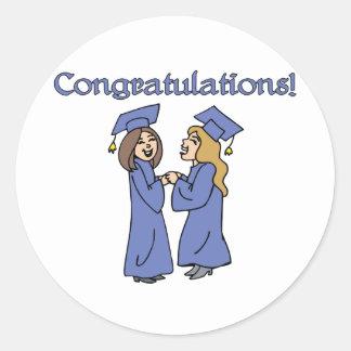 ¡Graduados de la enhorabuena! Pegatina Redonda
