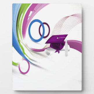 Graduados, enhorabuena, ondas coloridas y Circl Placas Con Fotos