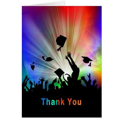 Graduados que lanzan gracias de las luces laser de tarjeta de felicitación