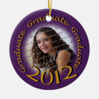 Graduate 2012 Purple and Gold Photo Frame Double-Sided Ceramic Round Christmas Ornament