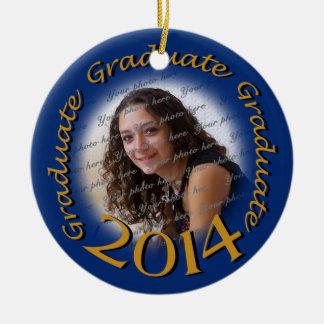 Graduate 2014 Blue and Gold Photo Frame Ceramic Ornament