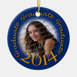 Graduate 2014 Blue and Gold Photo Frame Double-Sided Ceramic Round Christmas Ornament