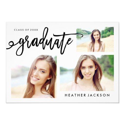 Graduate 2016 Trendy 3 Photo Collage Card