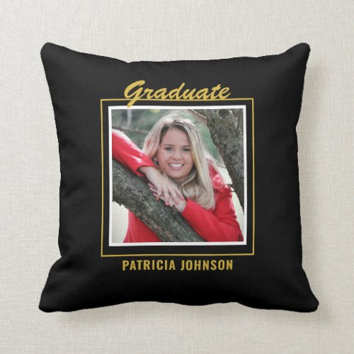 Graduate 2020 5 Photo Collage Black And Gold Throw Pillow
