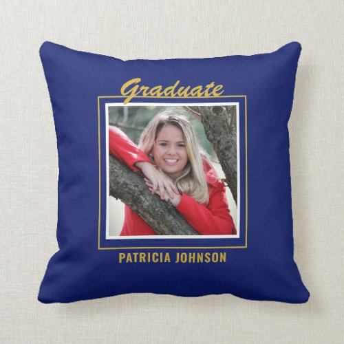 Graduate 2020 5 Photo Collage Blue And Gold Throw Pillow