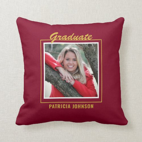Graduate 2020 5 Photo Collage Burgundy And Gold Throw Pillow