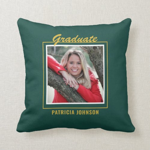 Graduate 2020 5 Photo Collage Green And Gold Throw Pillow