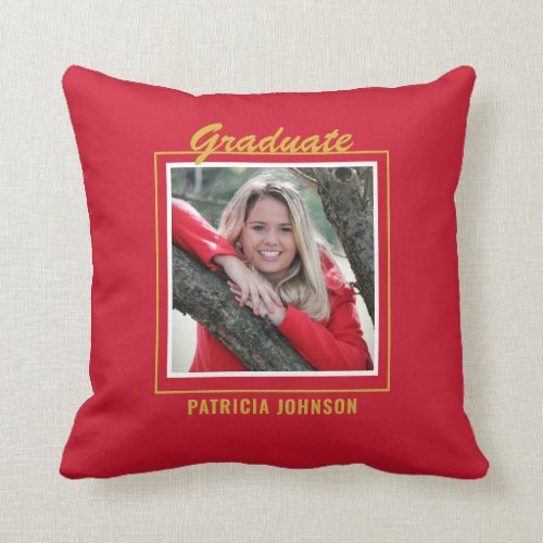 Graduate 2020 5 Photo Collage Red And Gold Throw Pillow