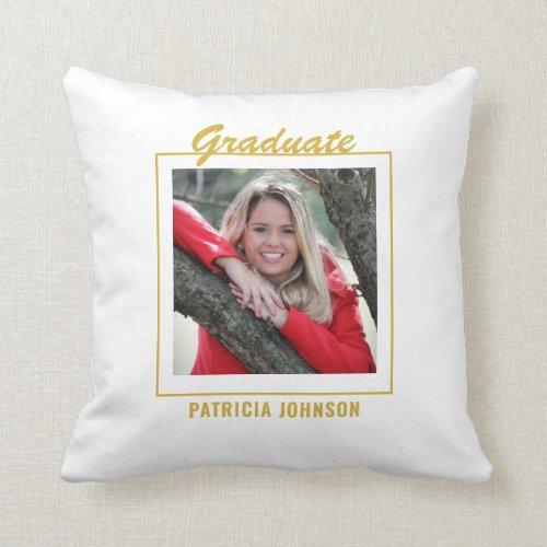Graduate 2020 5 Photo Collage White And Gold Throw Pillow