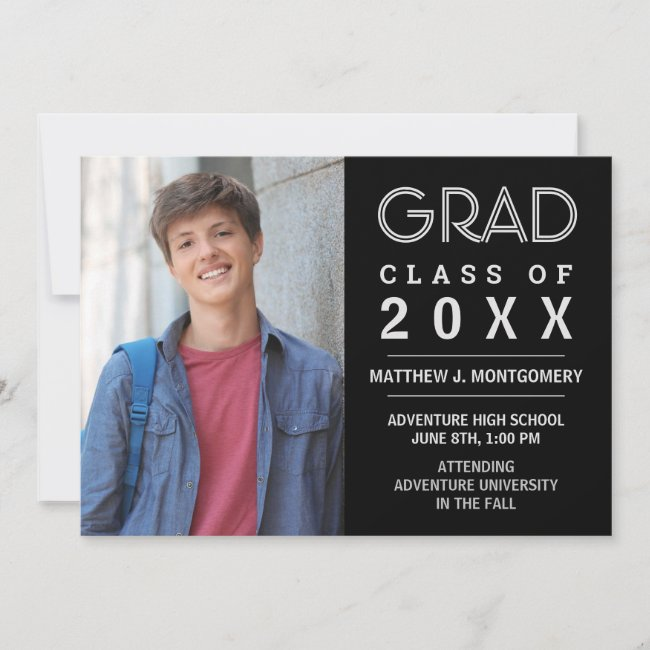 Graduate 2020 Photo Modern Black Silver Grad Announcement