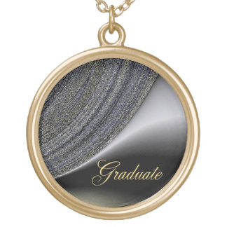 Graduate Abstract Black and Gold Design Necklace