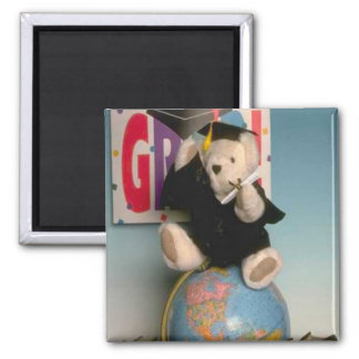 Graduate bear, tell your friends he made it! 2 inch square magnet
