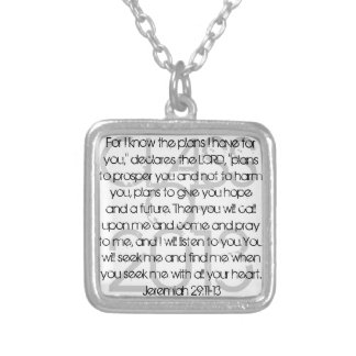 Graduate bible verse Jeremiah 29:11-13 Silver Plated Necklace