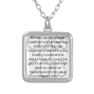 Graduate bible verse Philippians 3:13-14 Silver Plated Necklace