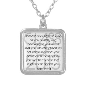 Graduate bible verse Psalm 119:9-11 Silver Plated Necklace