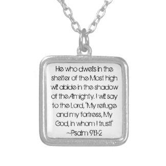 Graduate bible verse Psalm 91:1-2 Square Pendant Necklace