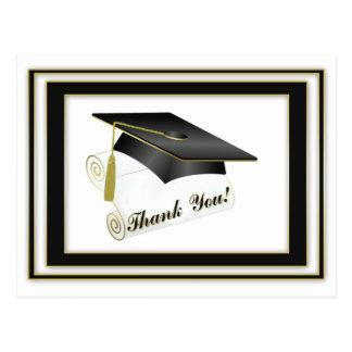 Graduate Black Thank You Postcard