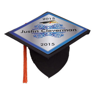 Graduate | Blue and Silver | Personalize Graduation Cap Topper