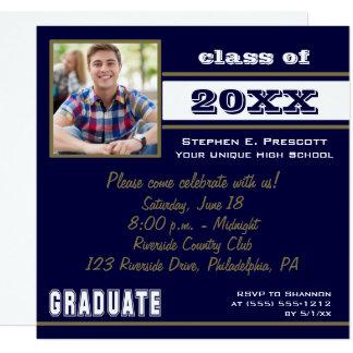 Graduate Bold Stripe Photo Graduation - Blue Card