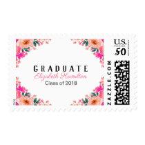 Graduate Bright Pink Watercolor Floral Graduation Postage