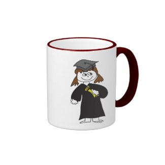 Graduate, Brunette Female Mugs