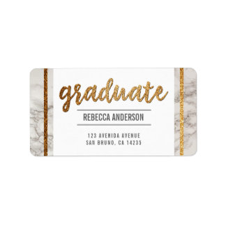 Graduate Calligraphy | Chic Gold Glitter on Marble Label