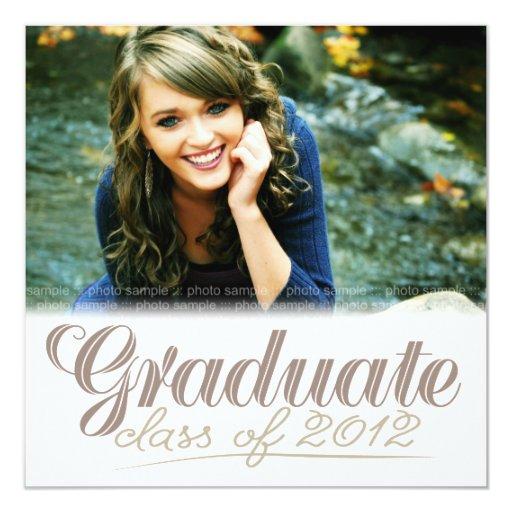 """Graduate Class of 2012 Modern White Invite 5.25"""" Square Invitation Card"""