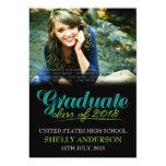 "Graduate Class of 2013 Modern Blue Green Invite 5"" X 7"" Invitation Card"