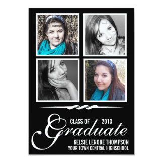 Graduate Class of 2013 Quad Photo Squares Modern Card
