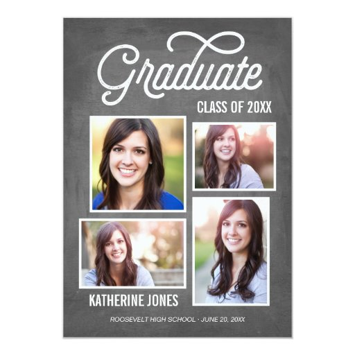 Graduate Class of 2016 4-Photo Collage Chalkboard Card