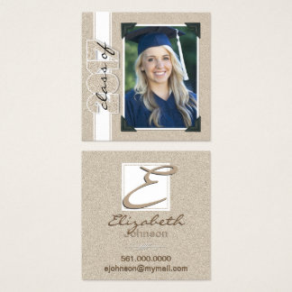 Graduate Class of 2017 Faux Glitter Contact Square Business Card