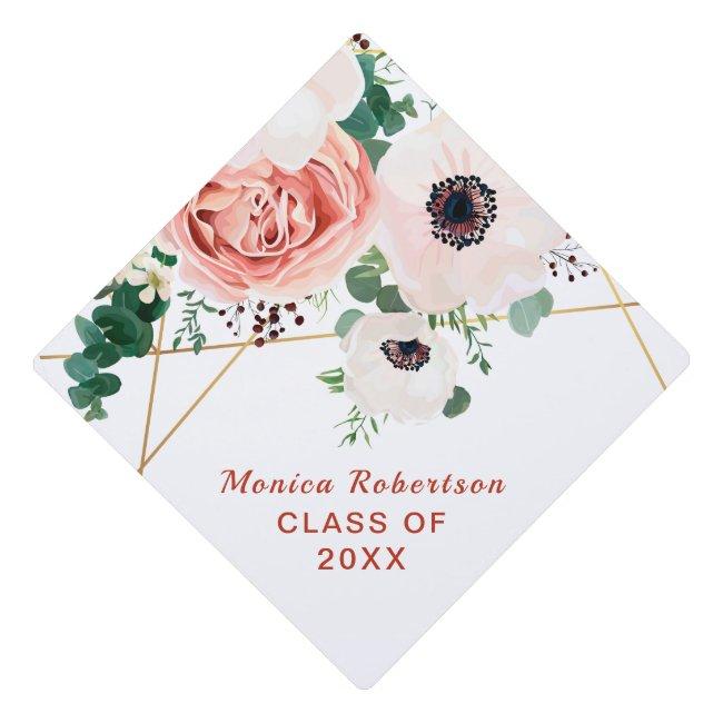 Graduate Class Of 2021 Floral Flowers White Graduation Cap Topper