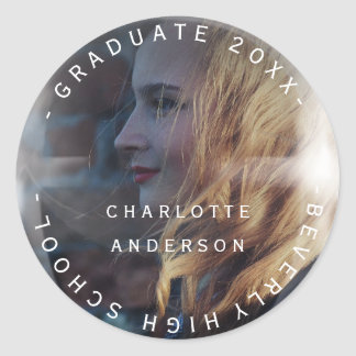 Graduate Class Of Name Custom Photo Bubble Classic Round Sticker