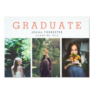 Graduate Cute Script Three Photos Coral Card
